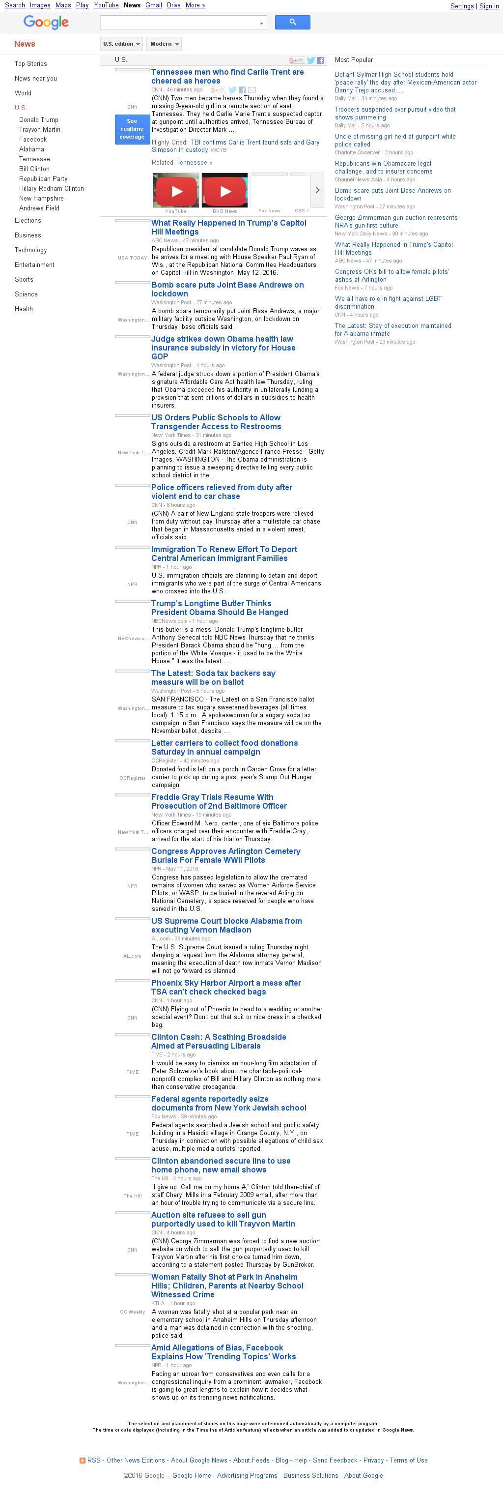 Google News: U.S. at Friday May 13, 2016, 2:09 a.m. UTC
