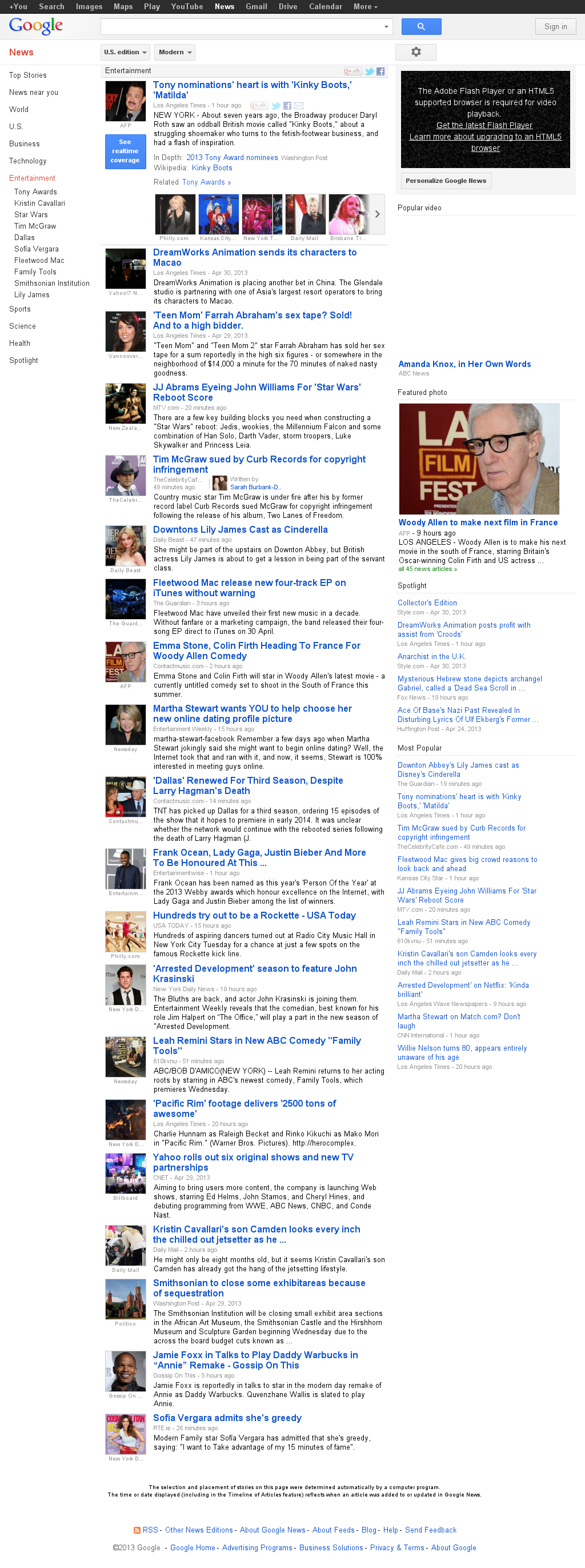Google News: Entertainment at Wednesday May 1, 2013, 1:08 p.m. UTC