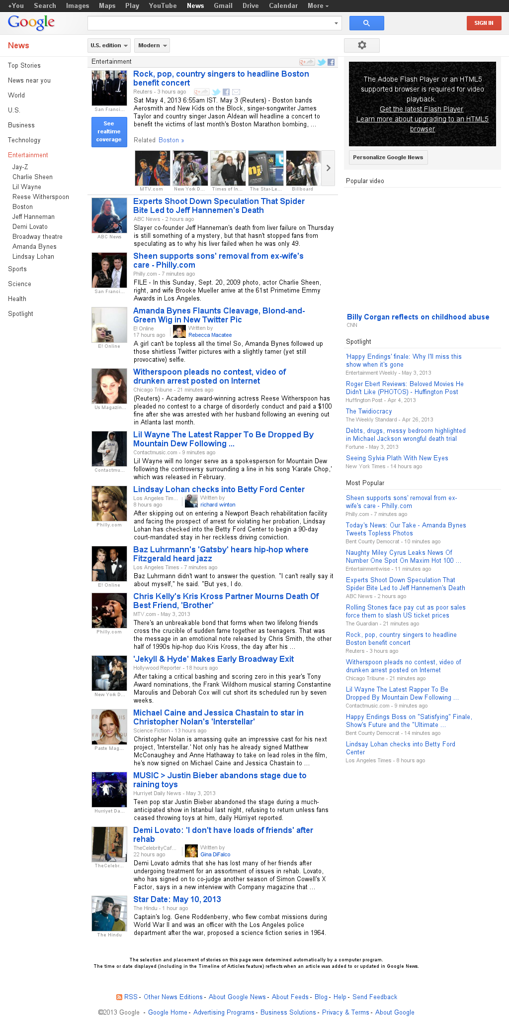 Google News: Entertainment at Saturday May 4, 2013, 1:10 p.m. UTC