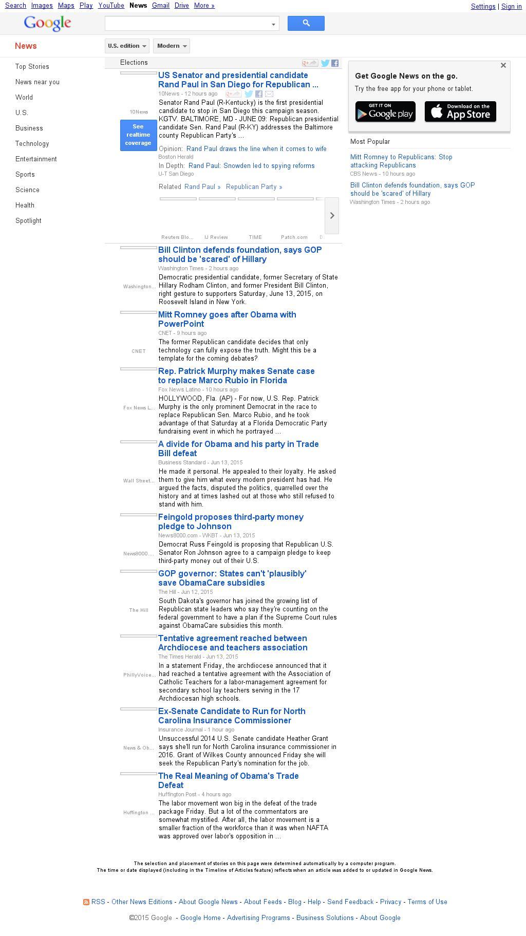 Google News: Elections at Monday June 15, 2015, 6:11 a.m. UTC