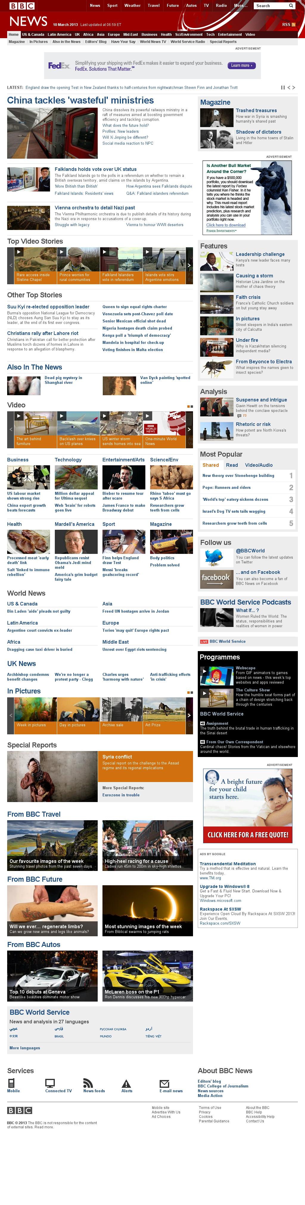 BBC at Sunday March 10, 2013, 11:01 a.m. UTC