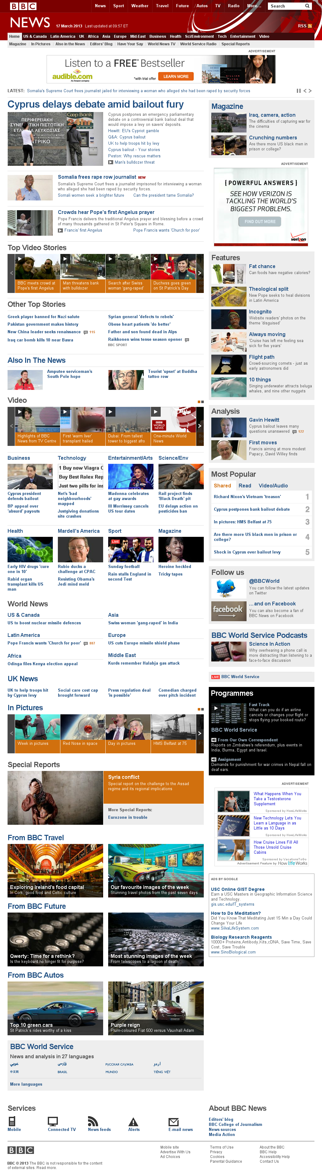 BBC at Sunday March 17, 2013, 2:02 p.m. UTC