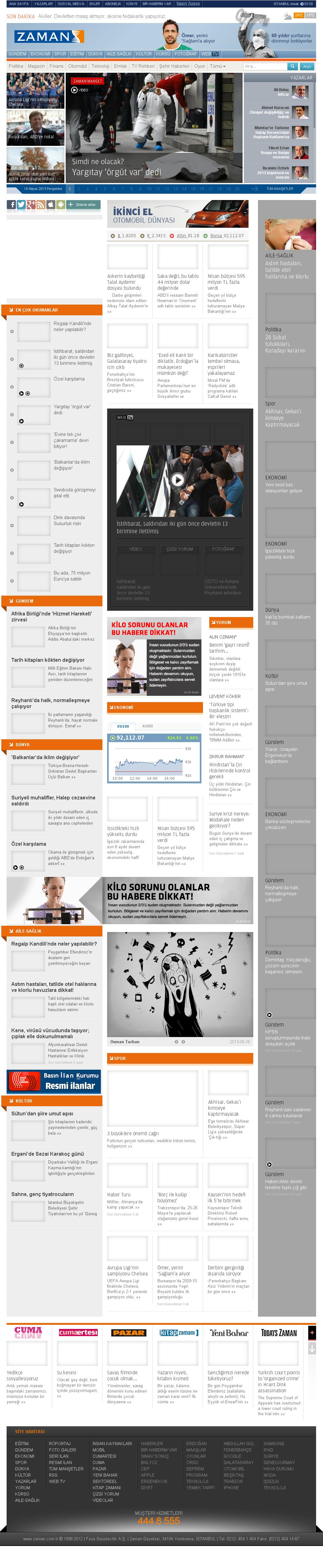 Zaman Online at Thursday May 16, 2013, 12:32 a.m. UTC