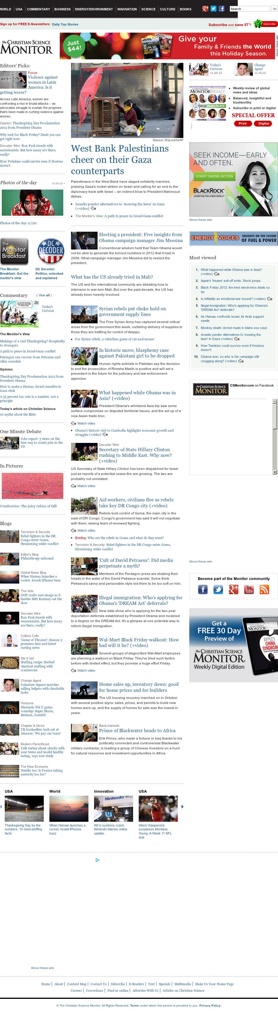 The Christian Science Monitor at Wednesday Nov. 21, 2012, 6:05 a.m. UTC