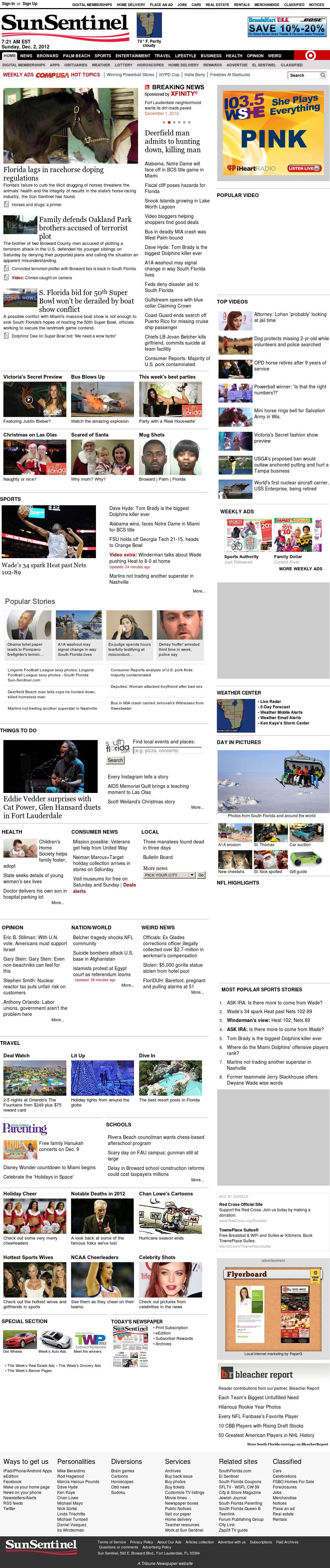 (Florida) Sun Sentinel at Sunday Dec. 2, 2012, 12:29 p.m. UTC