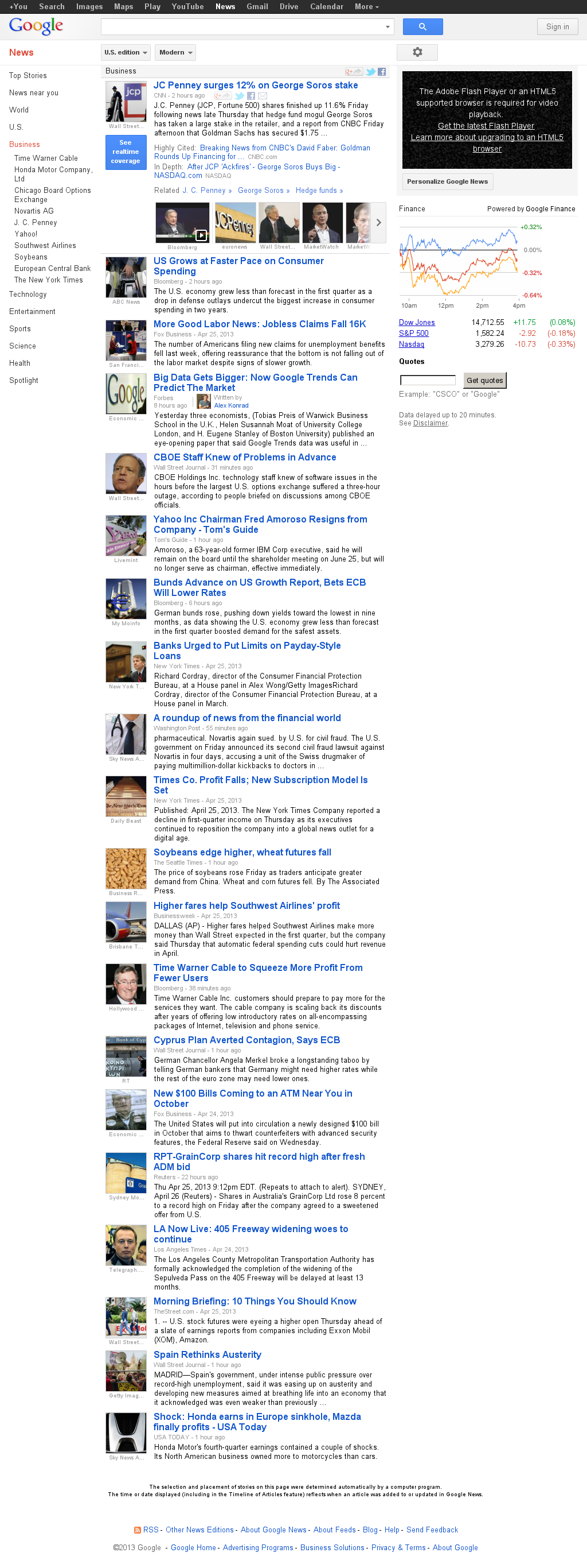 Google News: Business at Saturday April 27, 2013, 12:07 a.m. UTC