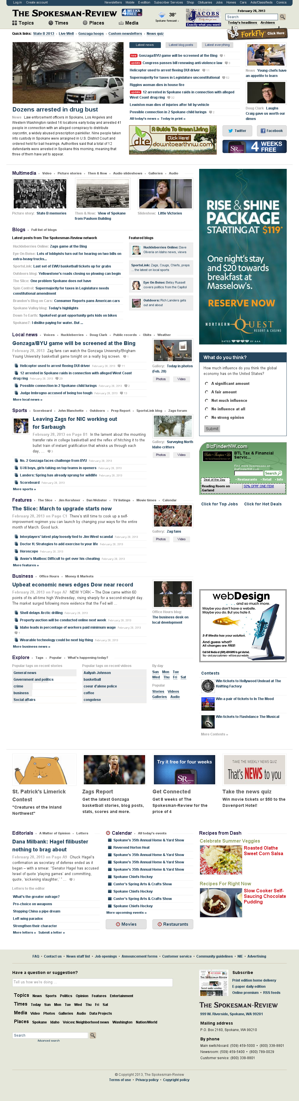 The (Spokane) Spokesman-Review at Thursday Feb. 28, 2013, 9:19 p.m. UTC