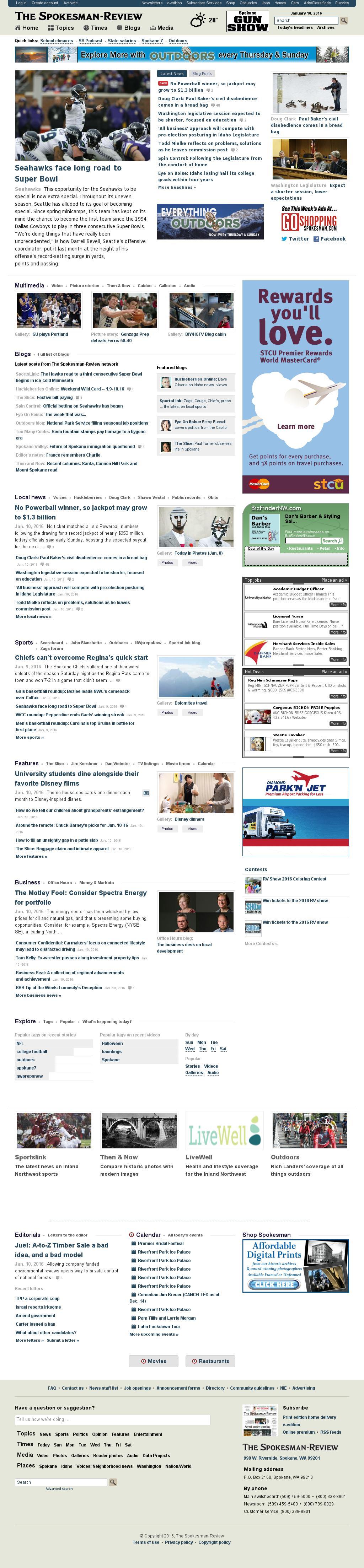 The (Spokane) Spokesman-Review at Sunday Jan. 10, 2016, 5:25 p.m. UTC