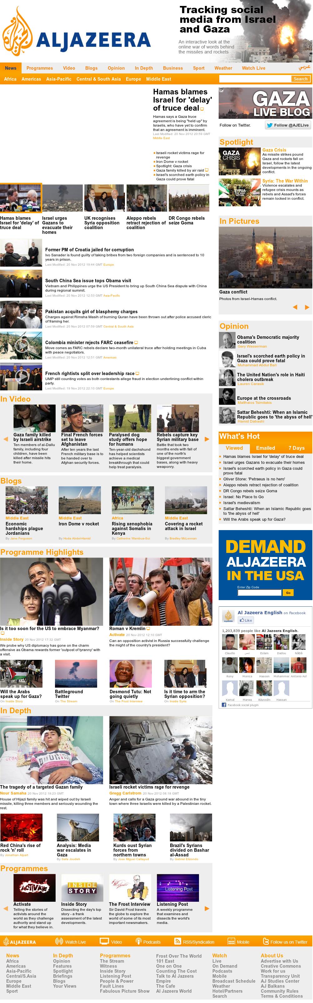 Al Jazeera (English) at Tuesday Nov. 20, 2012, 9:15 p.m. UTC
