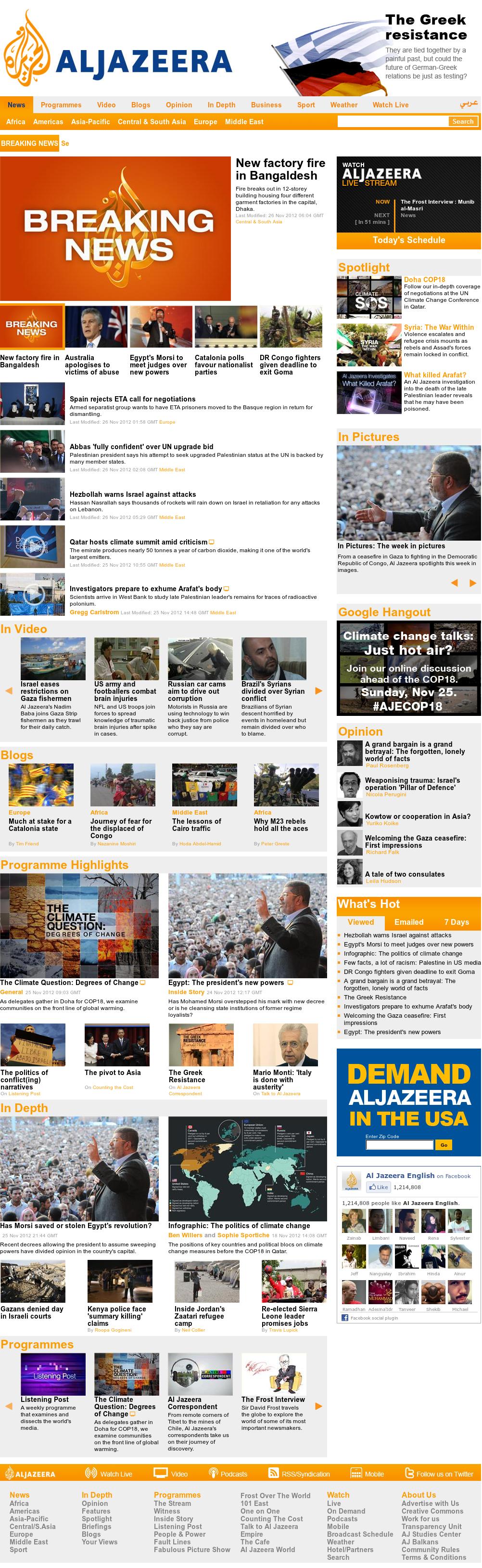 Al Jazeera (English) at Monday Nov. 26, 2012, 6:13 a.m. UTC