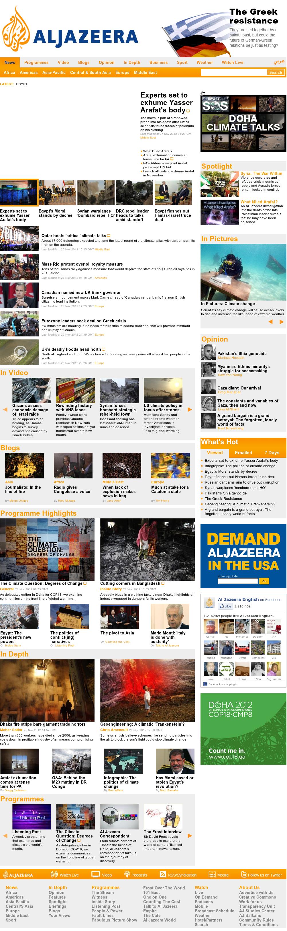 Al Jazeera (English) at Tuesday Nov. 27, 2012, 2:16 a.m. UTC