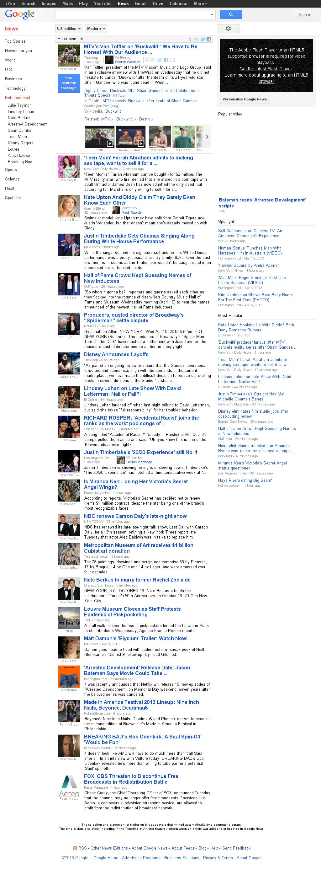 Google News: Entertainment at Wednesday April 10, 2013, 11:09 p.m. UTC