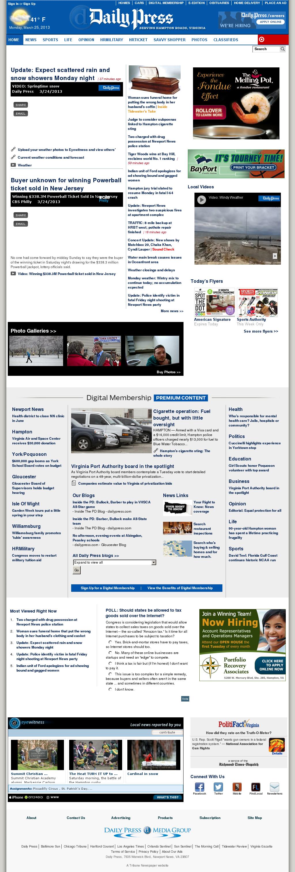 (Hampton Roads) Daily Press at Monday March 25, 2013, 7:08 p.m. UTC