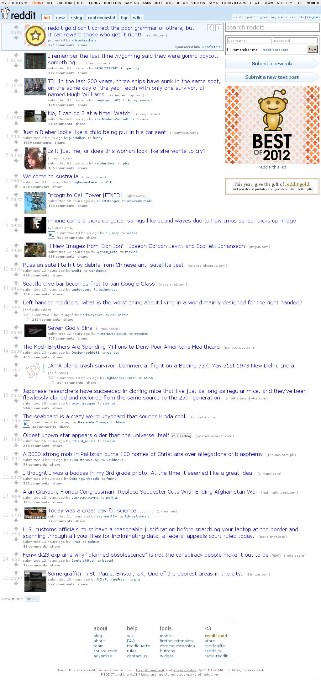 Reddit at Saturday March 9, 2013, 2:17 p.m. UTC