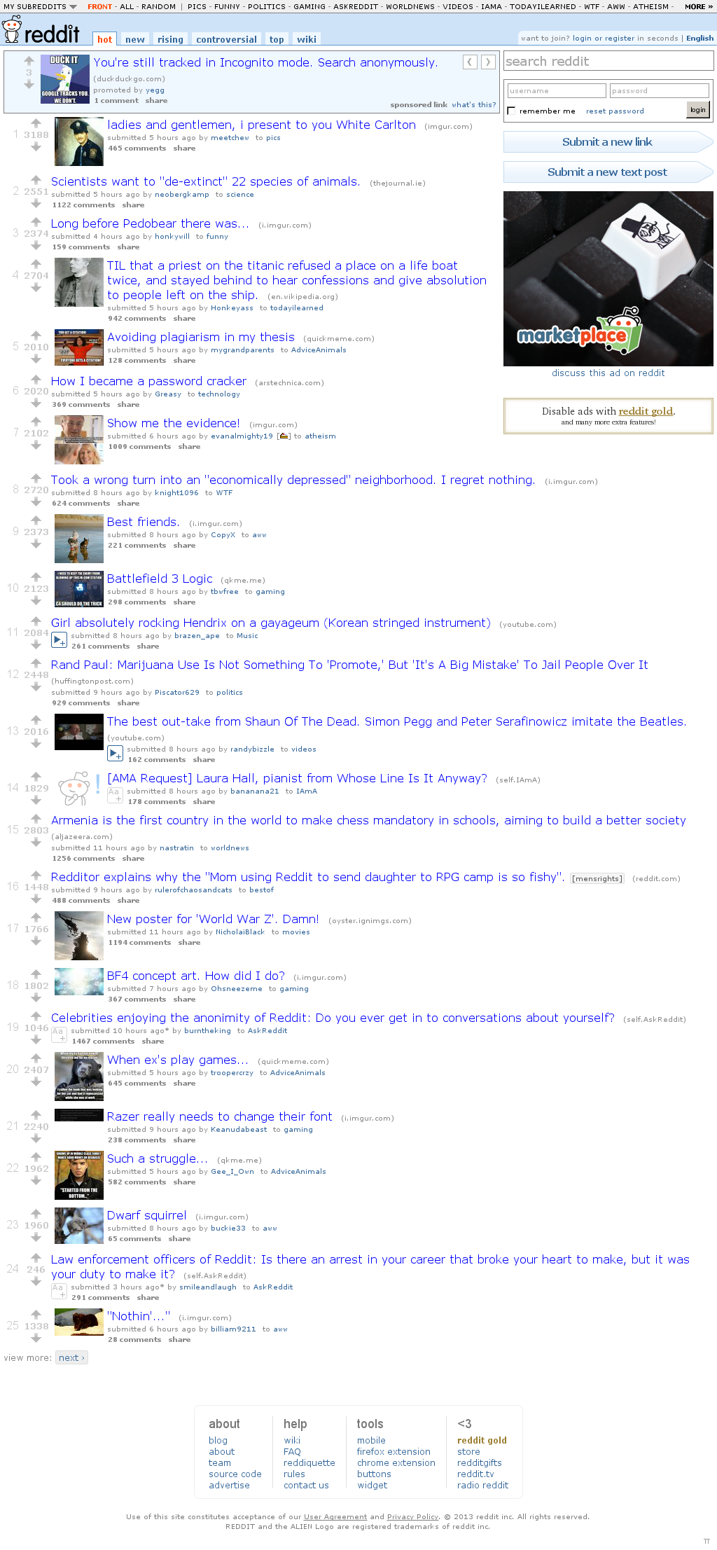 Reddit at Monday March 25, 2013, 7:37 a.m. UTC