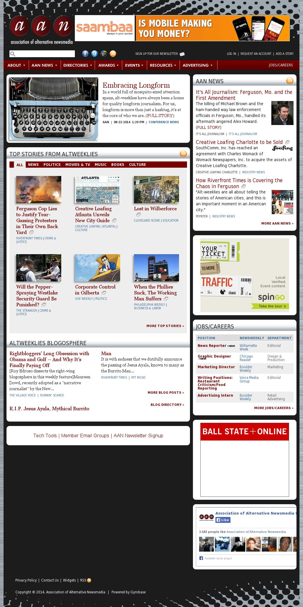 Association of Alternative Newsmedia at Monday Aug. 25, 2014, 10 a.m. UTC